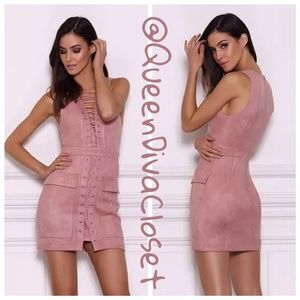 Pink dusty rose faux suede lace up corset dress